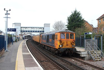 73963+73964 on the 1Q54 Eastleigh to Dollands Moor at Staines on the 16th March 2017