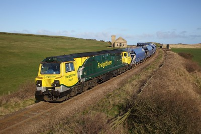 70007 powers the 6F31 Middlesborough to Boulby empty polyhalite fertiliser train at Hunt Cliff on the 20th March 2020