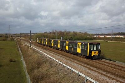 Tyne and Wear Metrocars Nos  4066+4052 arrive at Fellgate with the 2I11 0928 Airport Newcastle to South Hylton on the 21st March 2020