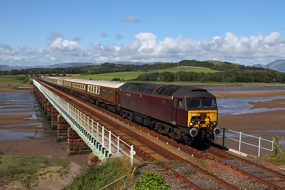 57315+57316 on the 1Z51 Ravenglass to Hereford at Eskmeals on the 25th July 2015