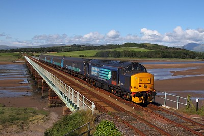 37402 tnt 37604 on the 2C34 1433 Carlisle to Barrow-in-Furness at Eskmeals on the 25th July 2015