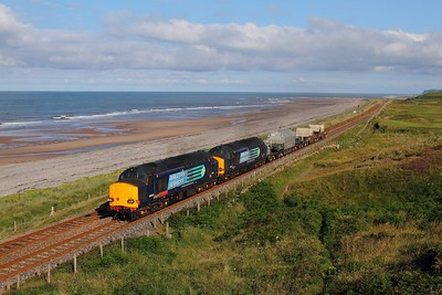 37610+37612+MODA95770EKUA+550052+550034 on the 6K73 Sellafield to Crewe at Seascale on the 25th July 2015