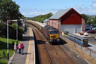57315 tnt 57316 on the 1Z51 Ravenglass to Hereford at Ravenglass on the 25th July 2015