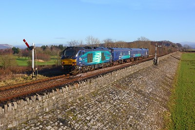 68003+68029 on the 5Z67 Carlisle to Carnforth at Grange over Sands on the 26th January 2018