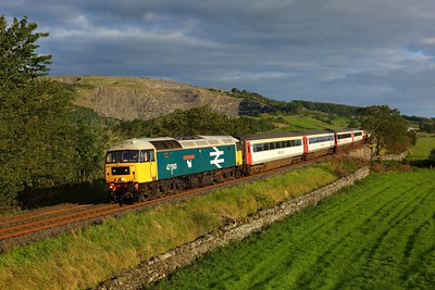 47593 leading 47712 with 5Z40 Appleby to Skipton at Helwith bridge on 31 August 2020  Class47, LSL, SandC