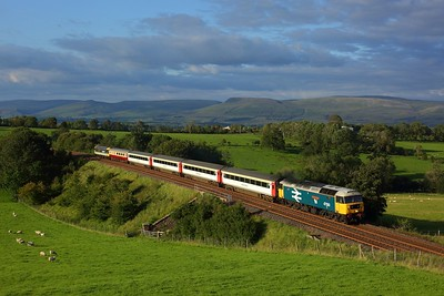 47593 leading 47712 with 1Z46 1758 Appleby to Skipton at Gallansay on 31 August 2020  Class47, SandC, LSL
