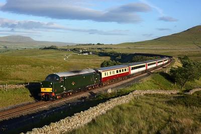 37521 leads 47593 on 5Z47 1918 Skipton to Appleby off Ribblehead viaduct towards Blea Moor on 21 July 2020  Class37, LSL, SandC