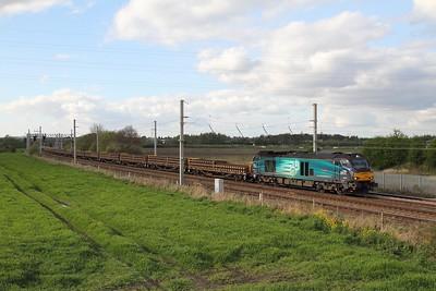 68022 on 6K27 Carlisle yard to Crewe BH at Winwick on 17th April 2017