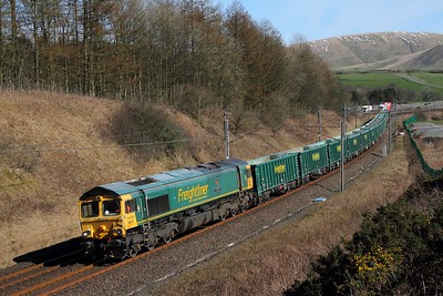 66614 on the 6H51 Shap Hardendale quarry to Tunstead at Beck foot on the 24th March 2017