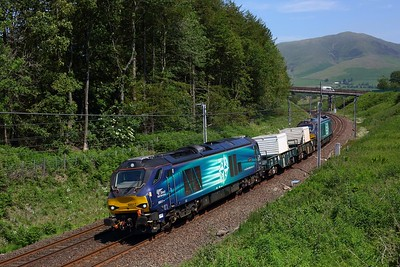 68017 leads 68003 on 6C51 Sellafield to Heysham harbour at Beckfoot on 25 June 2020  Class68, DRS, WCML