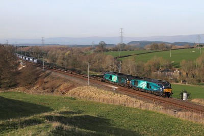 68023+68002 on the 4M48 Mossend to Daventry at Great Strickland on the 26th March 2017