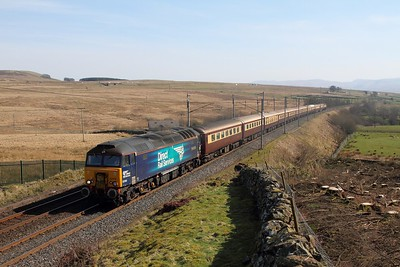 57310 on the 1Z49 Crewe to Liverpool Lime Street via Carlisle at Shap on the 26th March 2017