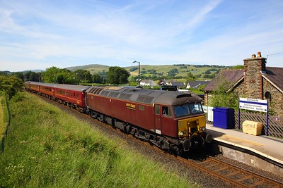 57314 tnt 57316 on the 2Z08 1530 Windermere to Oxenholme Lake District at Burneside on the 25th June 2018