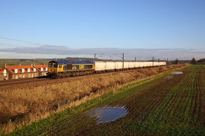 66738 on the 6S45 North Blyth to Fort William alcans at Prora on the 30th November 2019