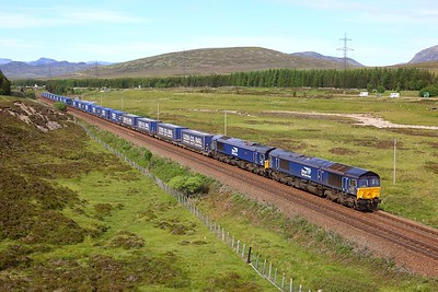 66303 leading 66302 on 4D47 Inverness to Mossend at Dalwhinnie on 28 June 2021  DRS66, HML, Tesco