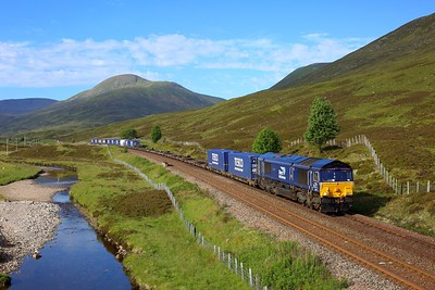 66302 working 4D47 Mossend to Inverness nears Dalwhinnie on 28 June 2021  DRS66, HML, Tesco