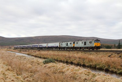 73970+73968 on the 1S25 Euston to Inverness at Moy on the 17th April 2017