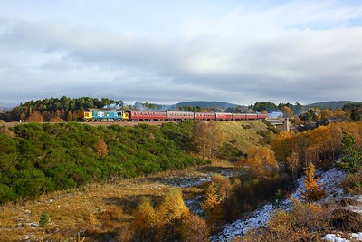 37403 working the 1Z37 Linlithgow to Inverness away from Carrbridge on the 27th October 2018