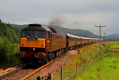 47804 on the 1Z89 Edinburgh to Dalwhinnie at Guay Crossing near Kindallachan on the 5rh August 2012