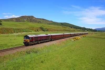 66743 working 1H82 1110 Boat of Garten to Dundee at Kingussie on 28 June 2021  GBRf66, RoyalScotsman, HML