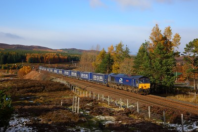 66301 on the 4D47 Inverness to Mossend at Dalwhinnie on the 27th October 2018 1