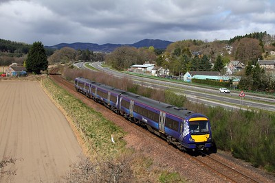 170475 on the 1H51 1210 Glasgow Queen Street to Inverness at Balinluig on the 15th April 2017