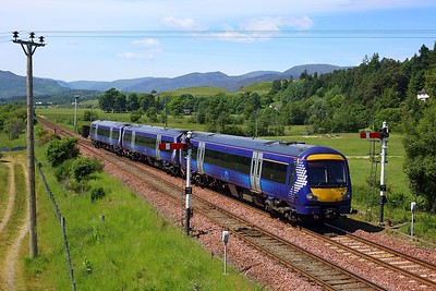 170450 working 1H09 1010 Glasgow Queen Street to Inverness at Kingussie on 29 June 2021  Class170, Scotrail, HML