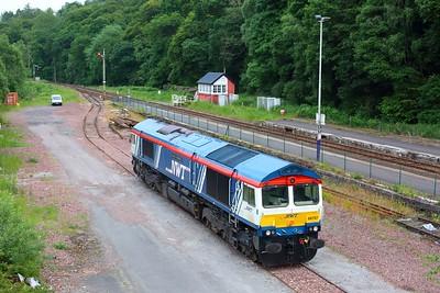 66747 in Dunkeld sidings after failing on 1S25 through loss of power, on 28 June 2021  GBRf66, NWT66, DunkeldSidings, HML