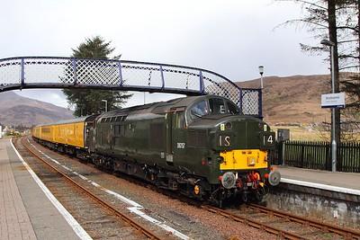 37057 tnt 37421 on the 1Q78 Inverness Millburn to Inverness Millburn via Kyle of Lochalsh at Strathcarron on the 16th April 2017