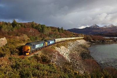 37605+37259 on the 1Z38 Kyle of Lochalsh to Inverness  at Badicaul on the 1st April 2018
