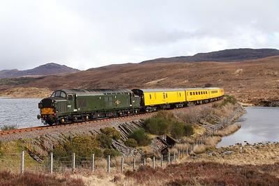 37057 tnt 37421 on the 1Q78 Inverness Millburn to Inverness Millburn via Kyle of Lochalsh at Loch Achanalt on the 16th April 2017