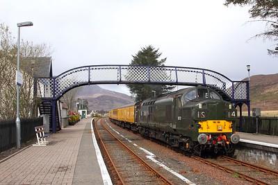 37057 tnt 37421 on the 1Q78 Inverness Millburn to Inverness Millburn via Kyle of Lochalsh at Strathcarron on the 16th April 2017 1