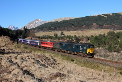 73968+73967 on the 5Y11 1030 Oban to Polmadie at Dalrigh on 25th March 2017
