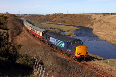 37607 tnt 37218 on the 1Z71 0800 Inverness to Wick at Geise returning from Thurso on the 5th April 2015 1