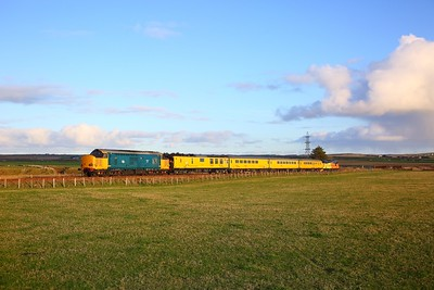 37610+37219 on the 1Q78 Inverness Millburn to Inverness Millburn via Thurso and Wick heading to Thurso shortly after departing Georgemas junction on the 28th October 2018