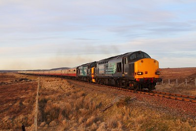 37607+37218 on the 1Z72 1808 Wick to Inverness at Forsinard on the 5th April 2015