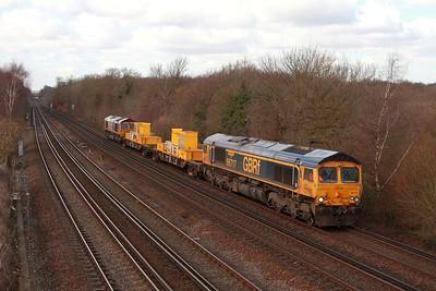 66717 tnt 66720 on the 3Y05 Tonbridge WY to Tonbridge WY via Maidstone and Ashford at Swanley on the 24th Feb 17