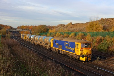 73212+73109 on the 6Y51 Slade Green to Tonbridge west yard at Swanley on the 19th November 2017