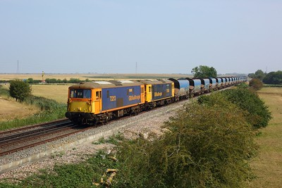 73213 leads 73128 on 4Z61 1059 Ramsgate to Rochester west of Seasalter  at Graveney on 13 August 2020  Class73, GBRf, CML