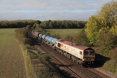 66721 tnt 66704 on the 3W01 0904 Tonbridge West yard circular (via Ashford, Hastings, Maidstone East and Swanley) at Westwell near Ashford on the 14th October 2017