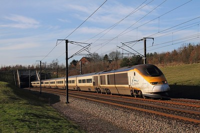 3108+3107 on the 9O28 1331 St Pancras International to Paris Nord at Westwell Leacon on the 16th January 2016