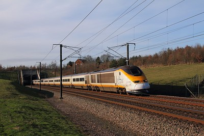 3216+3217 on the 9I32 1258 St Pancras International to Bruxelles Midi at Westwell Leacon on the 16th January 2016