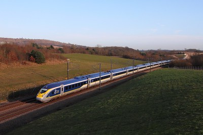 4015+4016 on the 9O31 1313 Paris Nord to St Pancras International at Westwell Leacon on the 16th January 2016