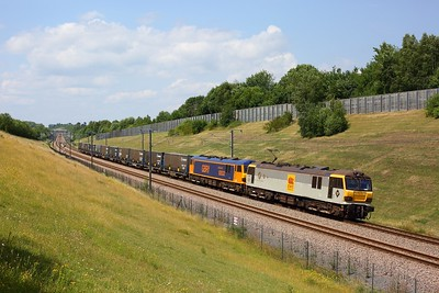 92036 leads 92032 on 6O18 1240 Ripple Lane to Dollands Moor at Lenham on HS1 on 26 June 2020  92032 failed last night due to a convertor problem  Class92, DB, HS1