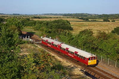 483006 working the 2D49 1749 Ryde Pier Head to Shanklin departing Brading on 11 August 2020  Class483, SWR, Islandline