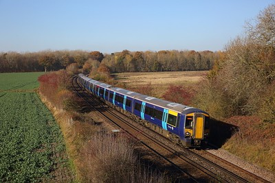 377501+377502 on the 2N28 1055 London Victoria to Ashford International at Westwell Leacon, Charing on the 17th November 2018