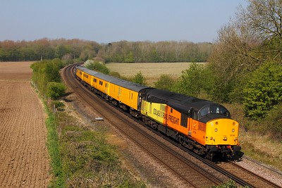 37116+37025 on the 1Q79 Tonbridge to Derby RTC via Sevington at Westwell Leacon, Charing on the 8th April 2017