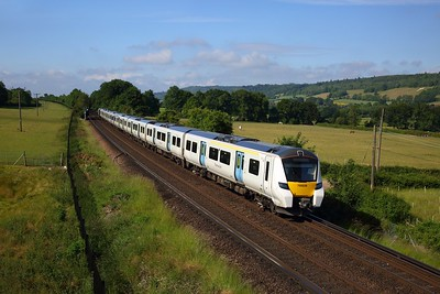700039 powers the 9Y14 0852 Sevenoaks to London Blackfriars north of Shoreham on 16 June 2020  Thameslink, Class700, Maidstoneline