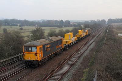 73119+73109 on the 3Y05 Tonbridge west yard to Tonbridge west yard via Ashford at Otford on the 23rd January 2017