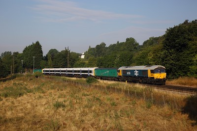 66789+465242 on the 5X89 Tonbridge west yard to Slade Green at Wateringbury on the 21st July 2018